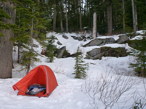 The Mountain Hardware Direkt 2 tent standing strong during a trip to the Cascades in the Pacific Northwest.