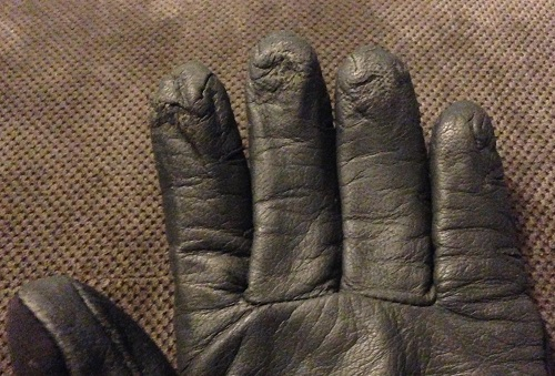 6 months of wear and tear on the Outdoor Research StormTracker glove.  Some signs of wear but no holes yet!