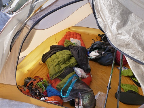 My Big Agnes Q-Core SL sleeping pad in use at Camp Muir on Mt. Rainier.