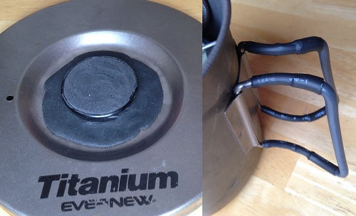 The extra insulation I've added to my Evernew Titanium Pasta Pot M.  On the left you can see the Surgu I've placed on the lid and on the right you can see some extra heat shrink tubing I've use to extend the rubber handle insulation.