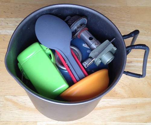My summertime cook kit.  Everything (including an 8 oz. fuel canister) fits nicely into my Evernew Titanium Ultralight Pasta Pot M.