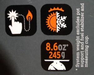 Jetboil Sol Titanium Stove label